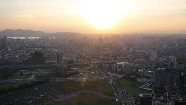 aerial view of hangzhou skyline in fog,zhejiang province,china - zhejiang province stock videos & royalty-free footage