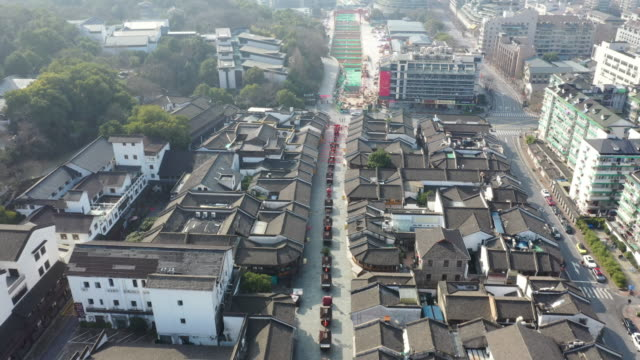 aerial view of hangzhou southern song yu street and hefang street in hangzhou city. chinese authorities extended the spring festival holiday this... - beijing stock videos & royalty-free footage