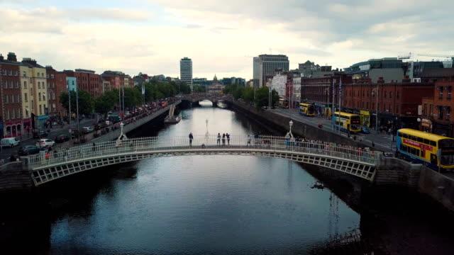 aerial view of ha'penny bridge, river liffey - dublin republic of ireland stock videos & royalty-free footage