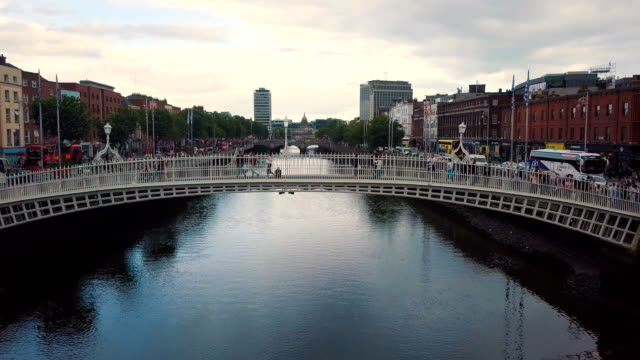 aerial view of ha'penny bridge, river liffey - dublin republic of ireland stock videos & royalty-free footage