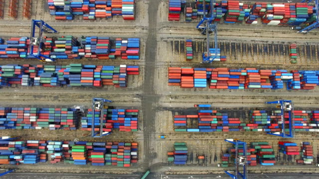 Aerial View of Harbor with cargo containers/Tianjin,China.
