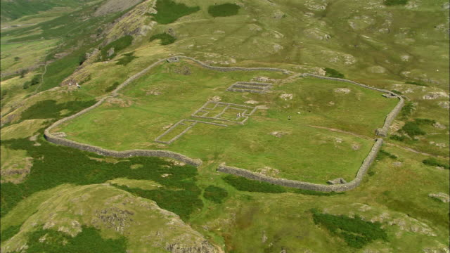 Aerial view of Hardknott Roman Fort in Eskdale in the Lake District / Cumbria, England