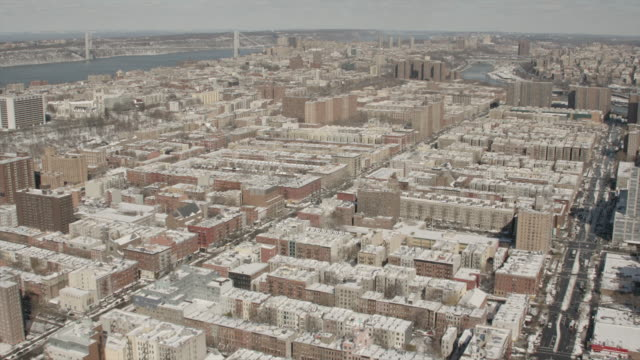 aerial view of harlem and the george washington bridge in new york city on a sunny winter day - bronx new york stock videos and b-roll footage