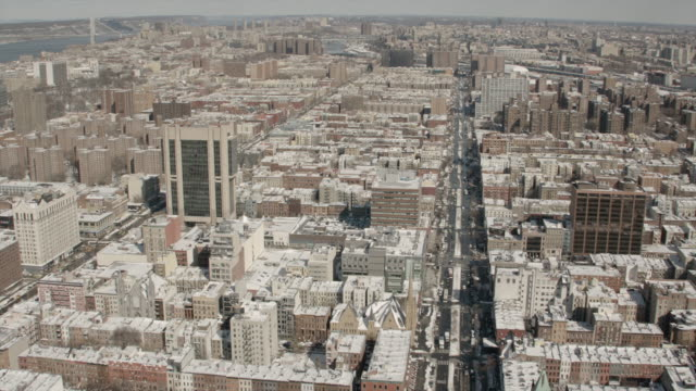 Aerial View Of Harlem New York City On A Sunny Winter Day