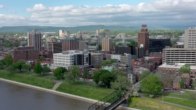 aerial view of harrisburg, pennsylvania - street name sign stock videos & royalty-free footage