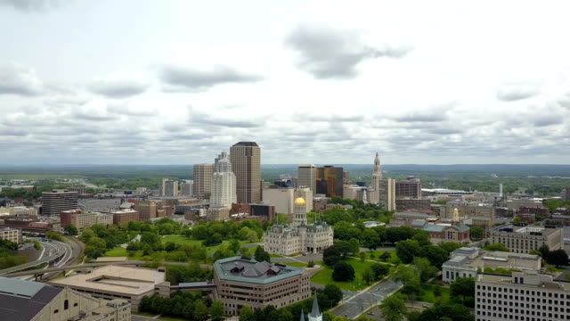 aerial view of hartford, ct skyline - government building stock videos and b-roll footage