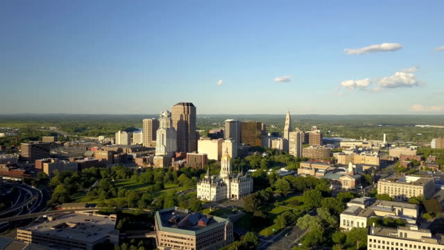 aerial view of hartford, ct skyline - connecticut stock videos & royalty-free footage