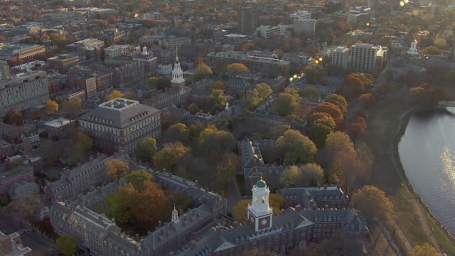aerial view of harvard university near charles river in cambridge, massachusetts, united states of america - harvard university stock videos & royalty-free footage