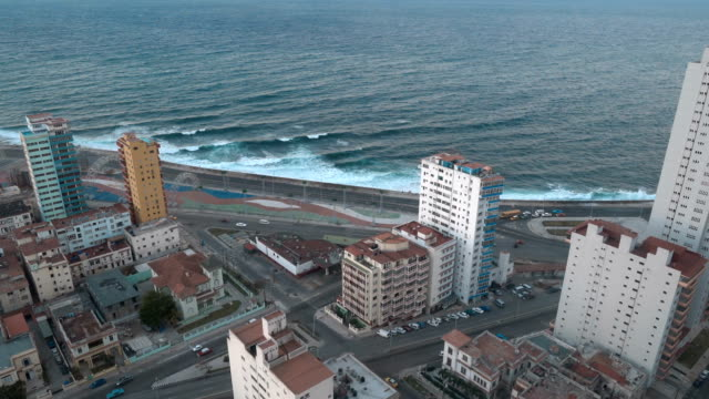 aerial view of havana, cuba, malecon district - cuba stock videos and b-roll footage