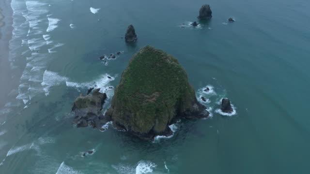 SLO MO aerial view of Haystack Rock