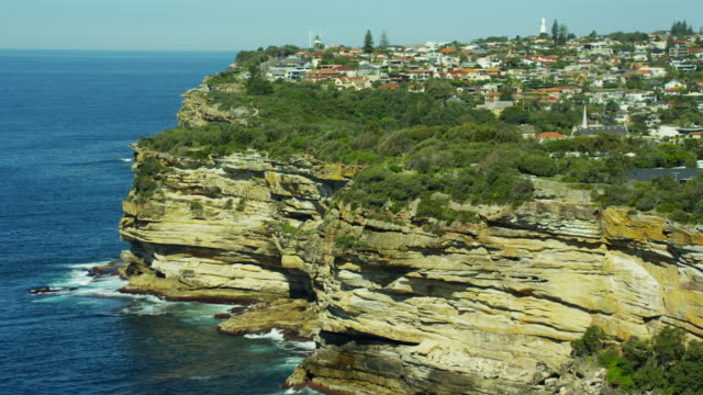 Aerial view of headland and Macquarie Lighthouse Sydney