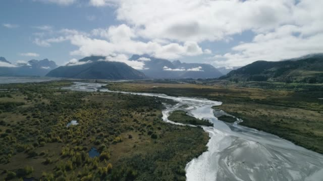 aerial view of headwaters at lake wakatipu, new zealand - otago region stock videos & royalty-free footage