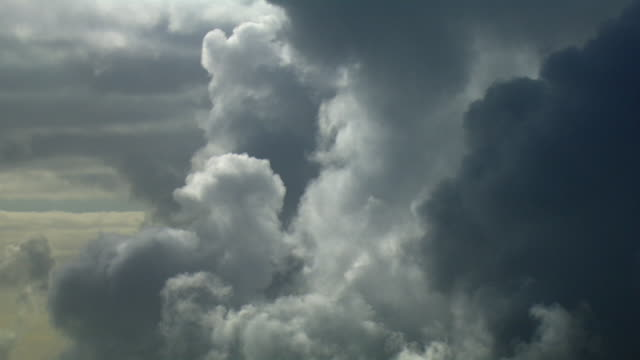aerial view of heavy clouds in sky - storm cloud stock-videos und b-roll-filmmaterial
