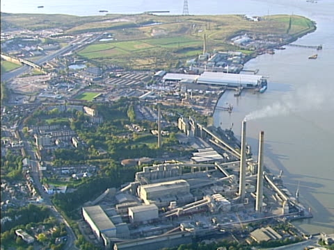 aerial view of heavy industry on river. ntsc, pal - river bend land feature stock videos & royalty-free footage