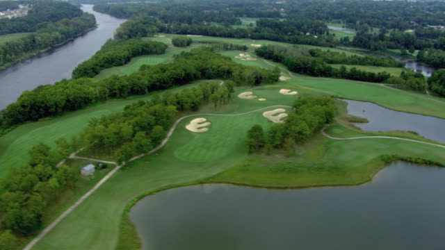 aerial view of hermitage golf course, nashville, tennessee, united states of america. - green golf course stock videos & royalty-free footage