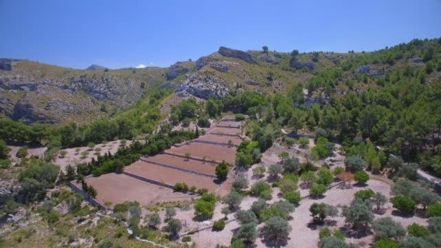 aerial view of hermitage of ermita de betlem in the mountains of arta ( serra artana or massís d'artà ) of balearic islands majorca / spain - 2010 2019 stock videos & royalty-free footage
