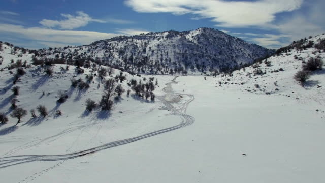 aerial view of hermon mountain covered with snow in winter - 胸を打つ点の映像素材/bロール