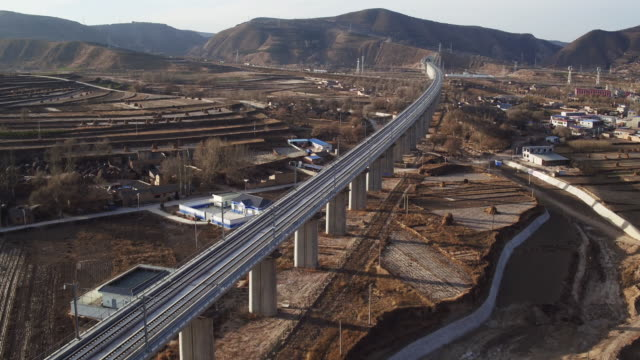 Aerial View of High Speed Railway Across A Village in China