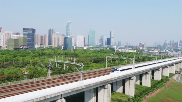 aerial view of high speed railway junction in blue sky - downtown stock videos & royalty-free footage