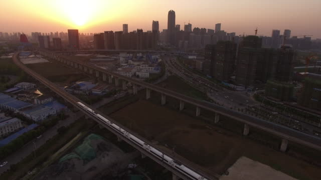 Aerial View of High Speed Train and Construction Site