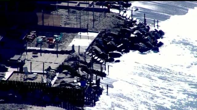 kswb aerial view of high tides along oceanside coastline on october 27 2015 - oceanside stock videos and b-roll footage