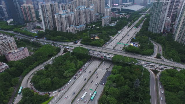 Aerial view of hight way intersection in  Shen Zhen City