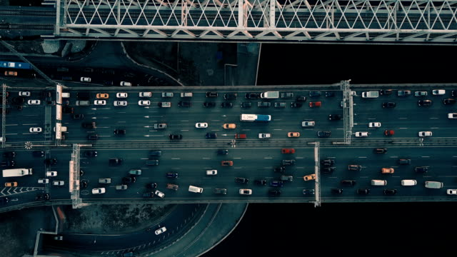 aerial view of highway and traffic - traffic jam stock videos & royalty-free footage