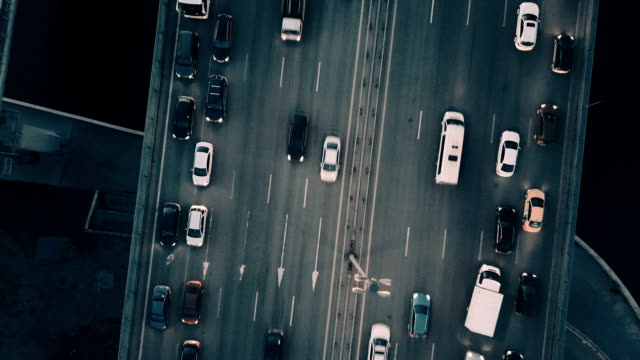 vídeos de stock e filmes b-roll de aerial view of highway and traffic - traffic jam