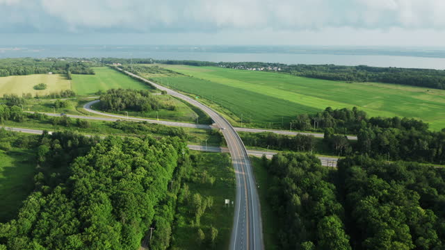 aerial view of highway in summer, quebec, canada - rural scene stock videos & royalty-free footage