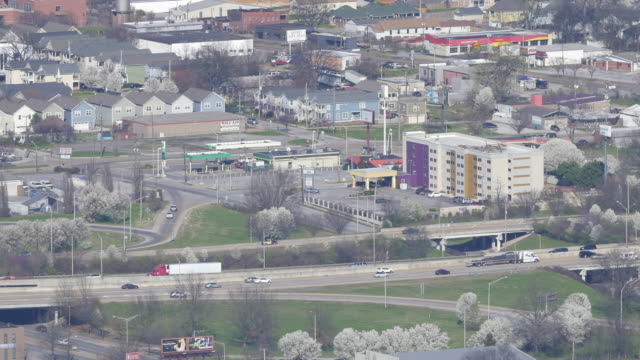 aerial view of highway traffic in chattanooga, tennessee, usa - chattanooga stock videos and b-roll footage