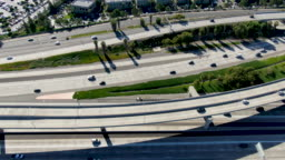 Aerial view of highway transportation with small traffic, California