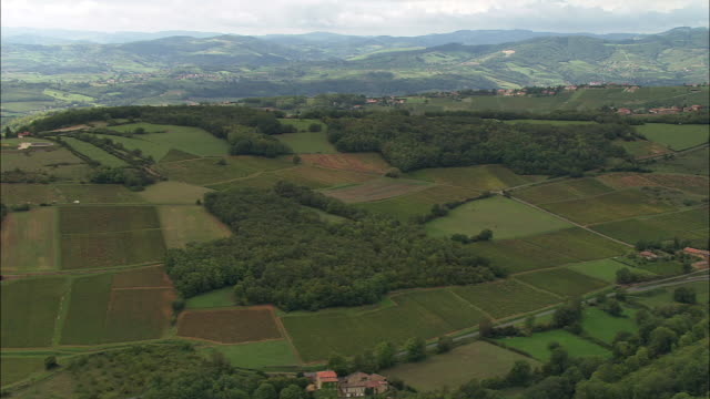 WS Aerial view of Hilly countryside in Beaujolais region, Rhone-Alpes, France