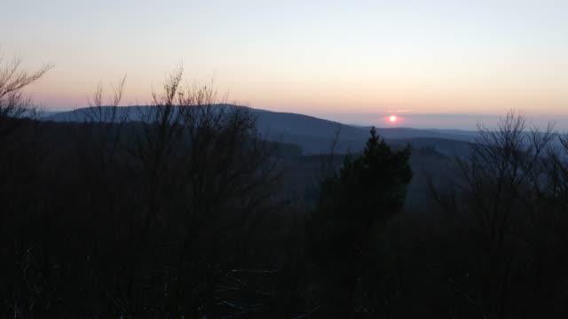 夜明けに起伏のある林の空撮 - シュバルツバルト点の映像素材/bロール