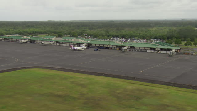 aerial view of hilo international airport on the island of hawaii. - big island hawaii islands stock videos & royalty-free footage