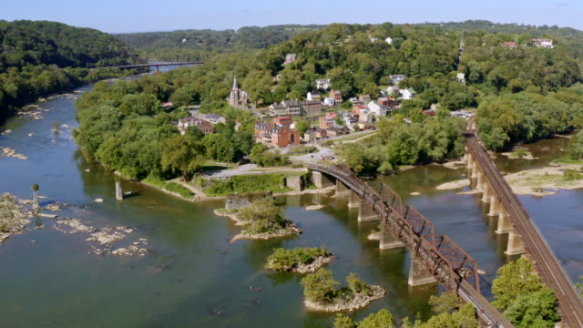 aerial view of historic harper's ferry, west virginia. civil war-era small town. - coal mine stock videos & royalty-free footage