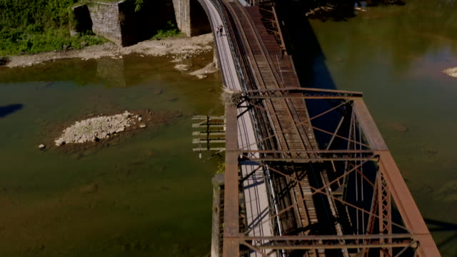 aerial view of historic harper's ferry, west virginia. civil war-era small town. - street name sign stock videos & royalty-free footage