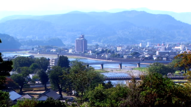 HD: Aerial view of Hitoyoshi city (video)