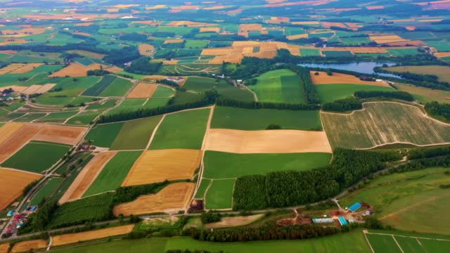 北海道フィールドの航空写真 - 農業点の映像素材/bロール