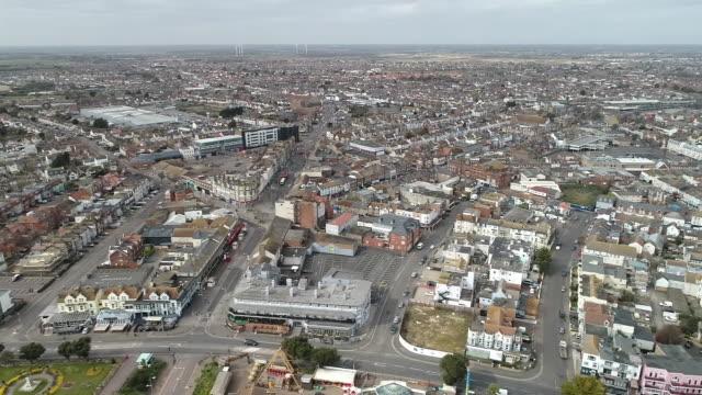 aerial view of holland-on-sea - エセックス州点の映像素材/bロール