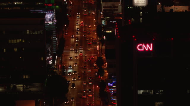 aerial view of hollywood at sunset boulevard. - sunset boulevard stock-videos und b-roll-filmmaterial