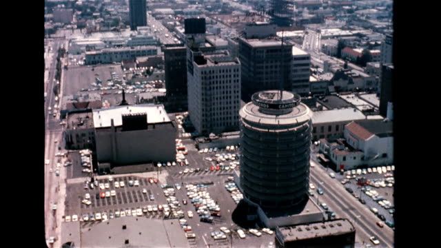 / aerial view of Hollywood / buildings north of Hollywood Boulevard including the circular Capitol Records building Aerial view of Hollywood on...