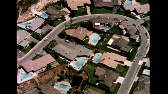 Aerial view of Hollywood homes with outdoor pools Hollywood homes with swimming pools on January 01 1956 in Hollywood California