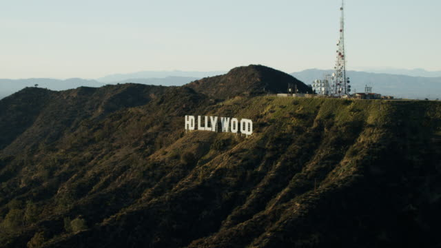 aerial view of hollywood sign hollywood hills california - バーバンク点の映像素材/bロール
