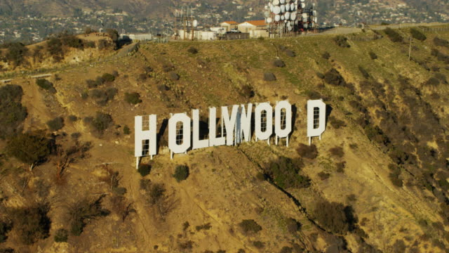Aerial view of Hollywood sign Los Angeles California