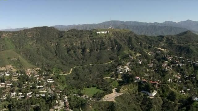aerial view of hollywood sign. - hollywood sign stock videos & royalty-free footage
