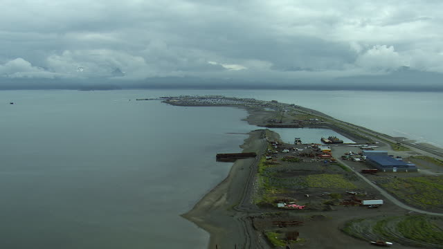 aerial view of homer spit in alaska - local landmark stock videos and b-roll footage