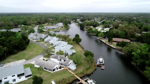 Aerial view of Homes along the Indian River in Crystal River, Florida