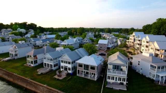 aerial view of homes along the shores of crystal beach at fort erie ontario canada - fort erie stock videos & royalty-free footage
