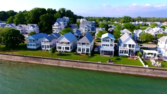 aerial view of homes along the shores of lake erie at fort erie ontario canada - fort erie stock videos & royalty-free footage