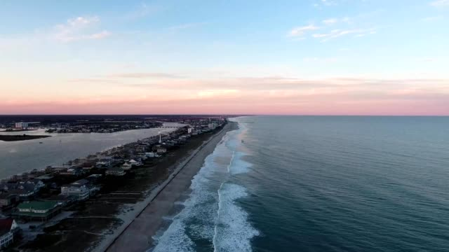 aerial view of homes along wrightsville beach in north carolina - carolina beach stock videos and b-roll footage